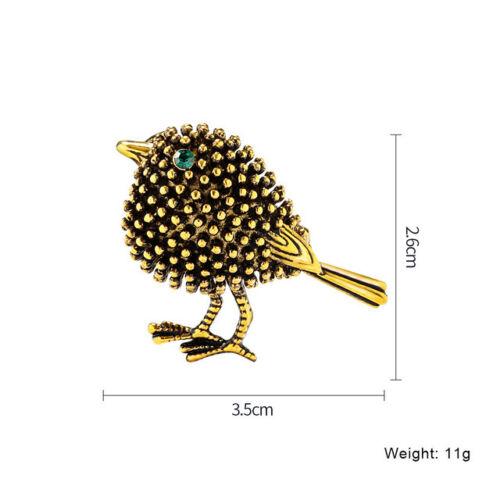 Robin Pájaro Broche Vintage Style Placa de Oro Verde delicada Diamante Pin Regalo HQ UK