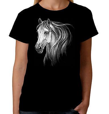 Velocitee Ladies Long Sleeve T-Shirt White Horse Head Pony Equine A7582