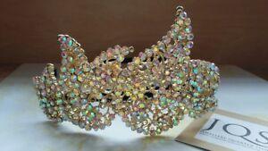 Sportif Bnwt Handmade Bespoke Superbe Or & Cz Set Bridal Crown Tiara-free Uk Post-afficher Le Titre D'origine êTre Hautement Loué Et AppréCié Par Le Public Consommateur