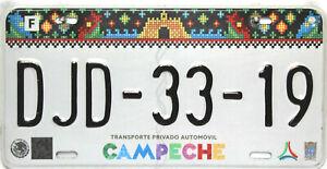Campeche License Plate Mexico, Original Nummernschild   DJD-33-19  Originalbild