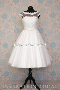 UK-dress-maker-1614-New-50-s-60-039-s-vintage-short-knee-tea-length-wedding-dress