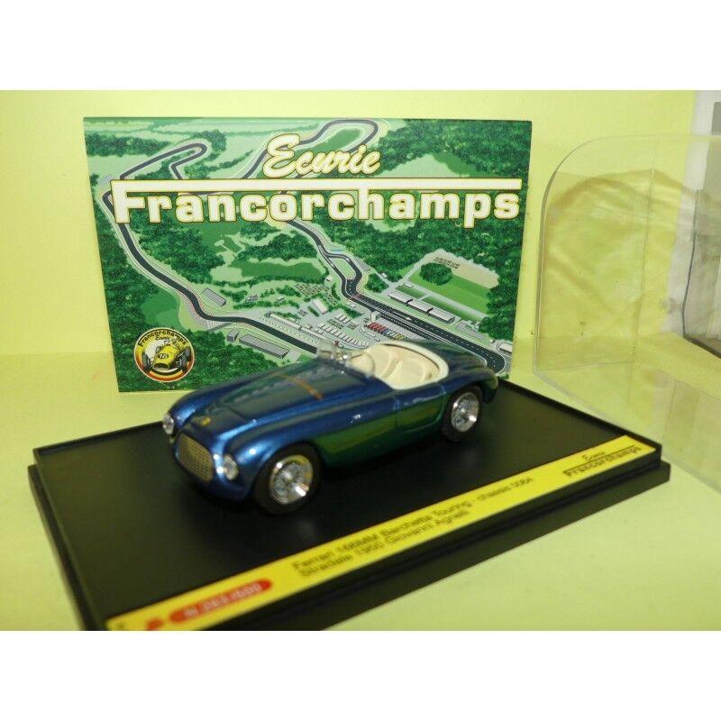 FERRARI 166 MM BARCHETTA TOURING 1950 Bleu Vert SPA FRANCORCHAMPS ART MODEL 1 43
