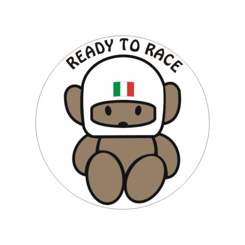 6cm x 6cm Sticker plastifié READY TO RACE ITALIA Ducati Moto Guzzi Aprilia