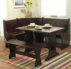 Details About 3 Pc Espresso Wooden Breakfast Nook Dining Set Corner Booth Bench Kitchen Table