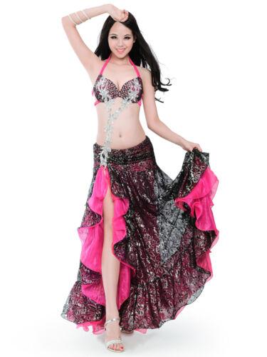 C929 XL//Bra D Cup Belly Dance Costume Set Bra Top Skirt Dress Hollywood Carnival