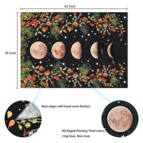 Moon Phase Lunar Display Tapestry Art Wall Hanging Hippie Home Bedspread Decor