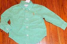 POLO RALPH LAUREN ORIGINAL BABY BOYS BRAND NEW GREEN DRESS SHIRT Size 18M, NWT