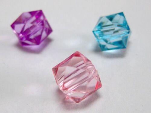 100 Couleurs Mélangées Acrylique Transparent à Facettes Cube Perles 10X10mm Espaceur Perles