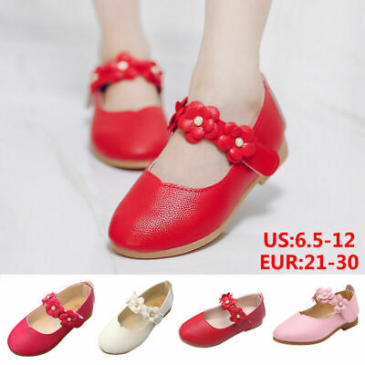 Kids Children Girls Floral Princess Party Dress Dance Shoes Leather Moccasins UK