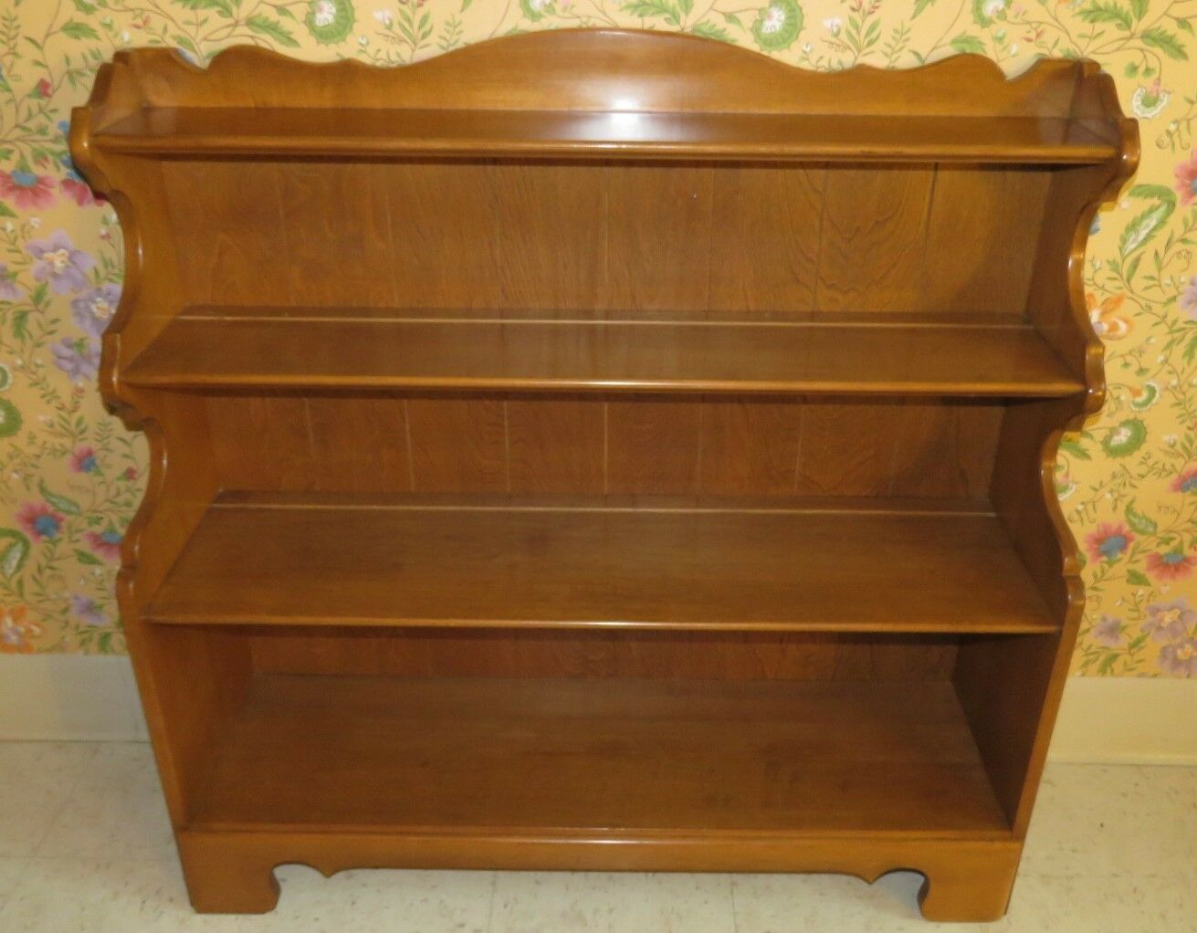 Ethan Allen Heirloom Nutmeg Maple Short Library Bookcase 10 918