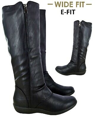 LADIES WOMENS WIDE E FITTING MID CALF