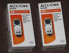 100 tiras de prueba x2 Accu Chek (mobile en 1 Cassette) Totalmente nuevo/Sellado Exp 03/2018