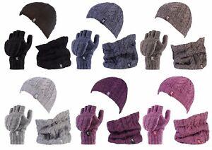 Heat-Holders-Womens-Thermal-Hat-Neckwarmer-Fingerless-converter-Gloves-set