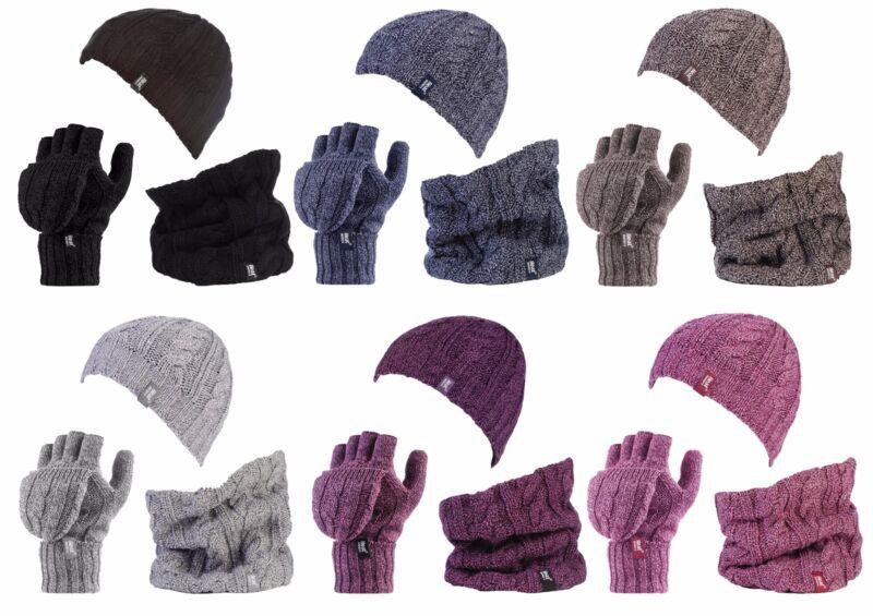 Considerate Heat Holders - Womens Thermal Hat, Neckwarmer, Fingerless Converter Gloves Set