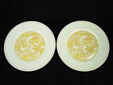 2 GENUINE LALIQUE LIMOGES YELLOW MERLES ET RAISINS DINNER PLATES NEW OLD STOCK!!