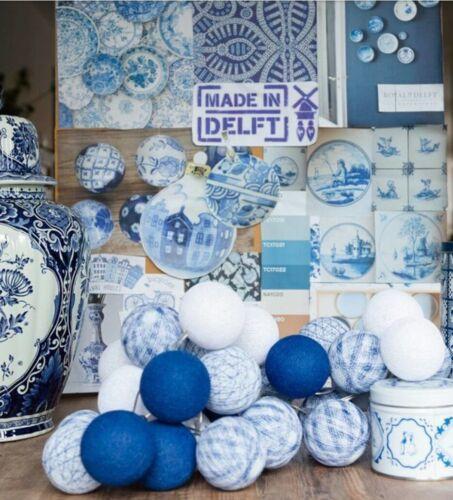 10 20 35 50iger Lichterkette Bälle Baumwolle Delft Blau Cotton Ball Lights LED