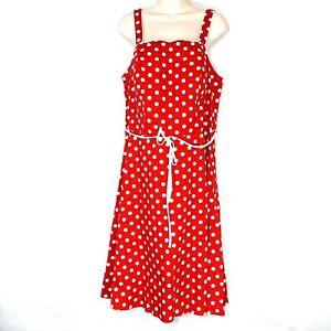 Details about R&K Originals Fit & Flare Dress Women Plus Size 16W Red White  Polka Dot Cotton