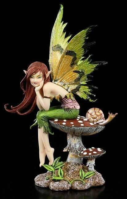 Amy Marronee Elfos Figura - Thinking Of You - Fantasy Hada Caracol Estatua