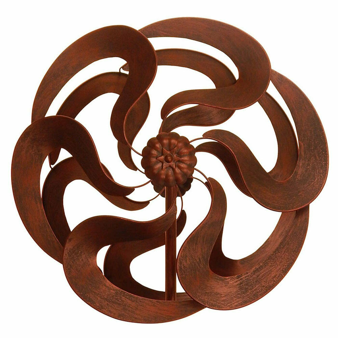 Aged Bronze Look Finish Blooming Kinetic Garden Windmill Stake Stands 75