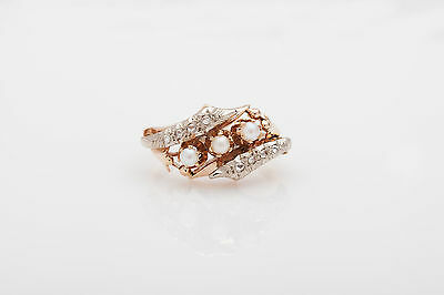 Antique 1940s Retro Natural Pearl Diamond 14k Gold Band Ring NICE!!!