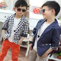 Kids Fashion Toddlers Boys Plaid Check Dots Casual Suit Jacket Coat Clothes 2-7Y