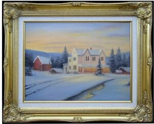 Framed-Quality-Hand-Painted-Oil-Painting-Snowing-landscape-16-12x16in