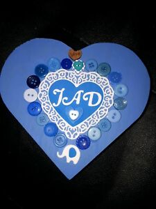 HANDMADE WOODEN HEART BOXES BABY BOY/GIRL PERSONALISED ANY COLOURS.