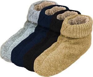 Haussocken-Herren-Pantoffel-Socken-ABS-Sohle-EXTRA-WEIT-Pluesch-gefuettert-39-46