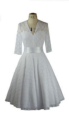 Baylis Knight White Lace Circle Low Cut Sweetheart Flared Dress Wedding Gown 50s Profitieren Sie Klein
