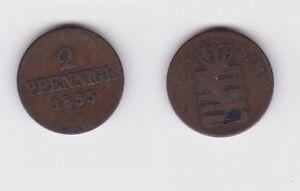 123099 HeißEr Verkauf 50-70% Rabatt 2 Pfennig Kupfer Münze Sachsen 1855 F