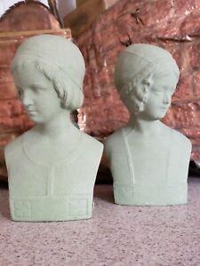 Antiques pair Gatsby 1920s Era~'fleuron'~deco Lady Bust ~tonawanda Ny~cast Composition