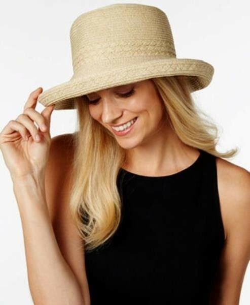 61644a5e4c9 Buy Nine West Straw Packable Hat Natural One Size UV Sun Protection I2  online