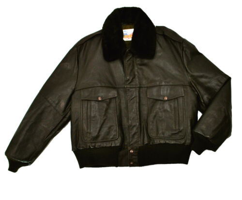 Excelled Brown A-2 Leather Flight Jacket XL 48 Fur