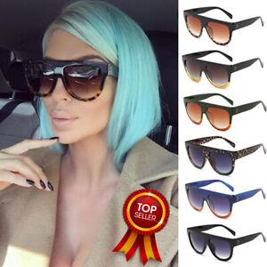 Oversized Black Leopard Flat Top Fashion Designer Women Ladies Sunglasses Shade