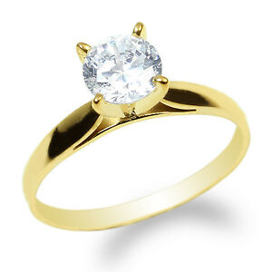 JamesJenny-10K-Yellow-Gold-0-9ct-Round-CZ-Fancy-Solid-Solitaire-Ring-Size-4-10