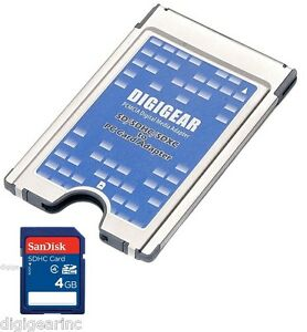 4GB Sandisk SD SD To PCMCIA PC Card Adapter Reader ATA