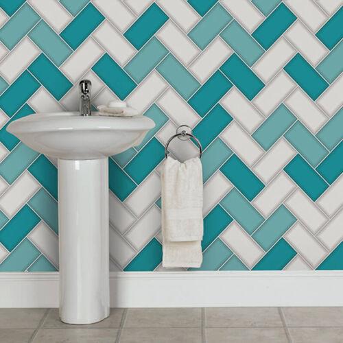 Wallpaper Holden-Chevron Tile paillettes 3d Geometric Kitchen Bathroom Teal 89301