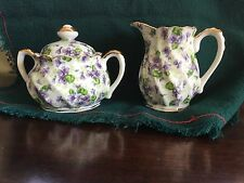 Hand Painted Lefton  Creamer and Sugar Bowl With Violets