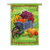 Wheelbarrow Autumn Fall Satin Reflections Evergreen Large Banner Flag 29x43
