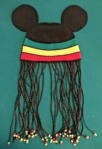 Disney World Mickey Mouse Ears Jamaican Rasta Braids Beads Beanie Hat Cornrows