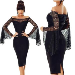 wholesale dealer 36080 2f7fb Dettagli su Vestito elegante donna nero abito da sera in pizzo aderente  manica lunga D220269