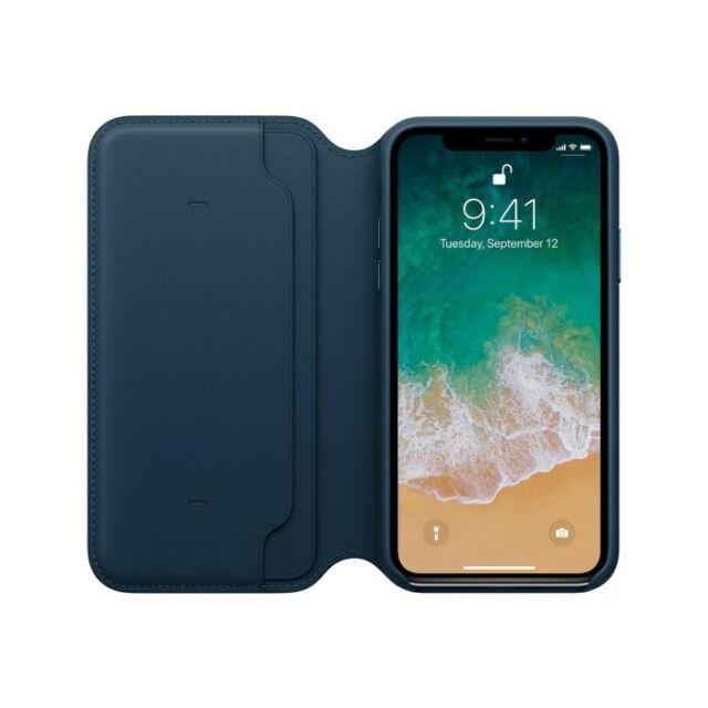 the latest 48782 793ad Apple iPhone X Leather Folio Case - Cosmos Blue