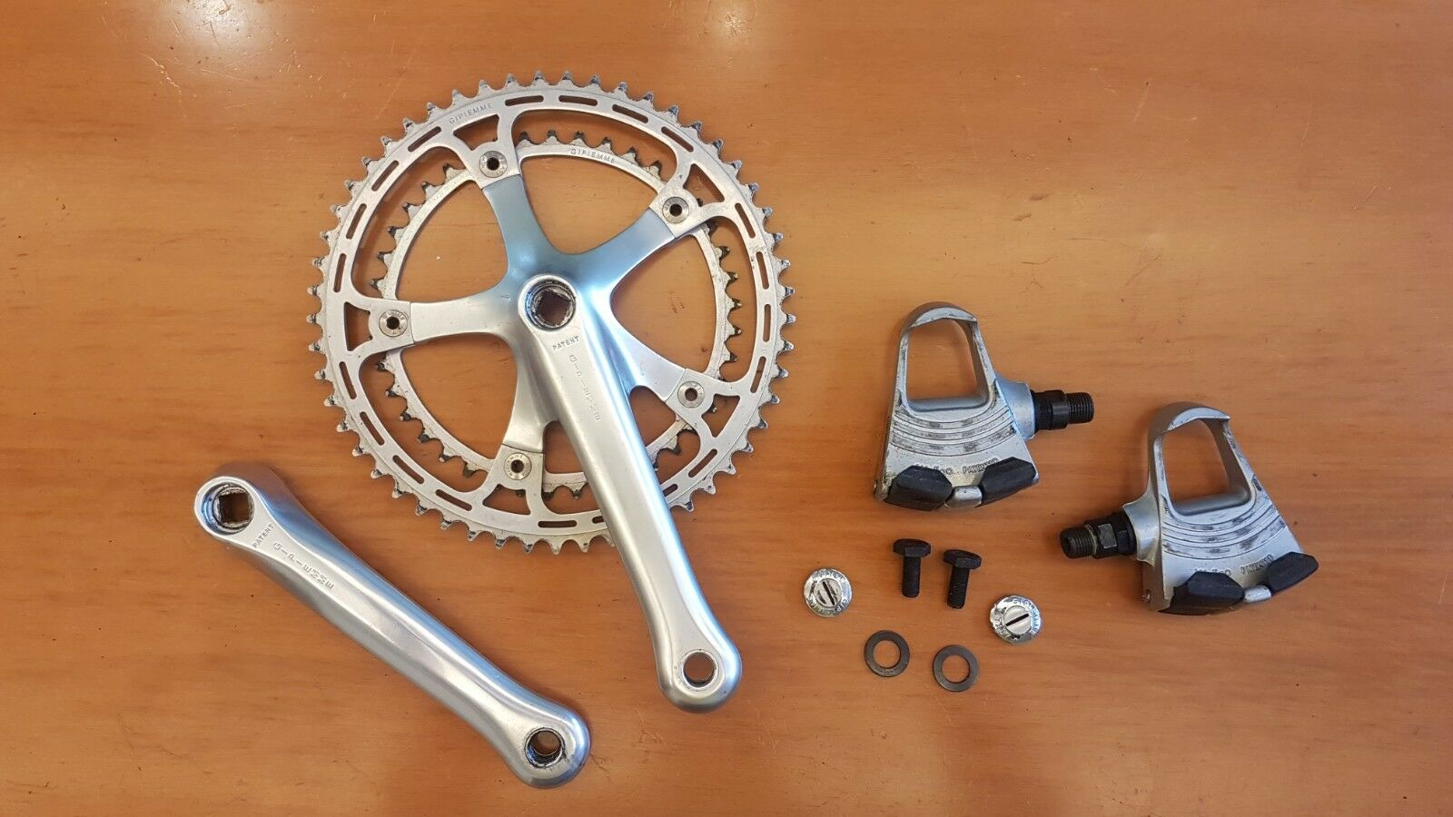 NOS GIPIEMME STRADA 170 crankset and pedals vintage italian road bike
