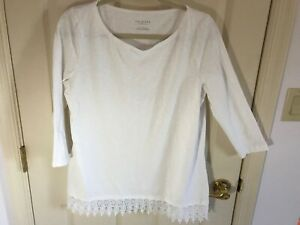 Woman-s-Talbots-size-X-white-embroidered-hemline-3-4-sleeve-cotton-top
