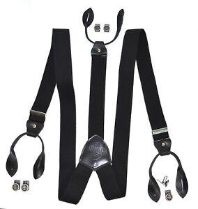 LLOYD-Men-039-s-Belts-Hosentraeger-schwarz-Y-Form-Leder-Suspenders-Braces-6726