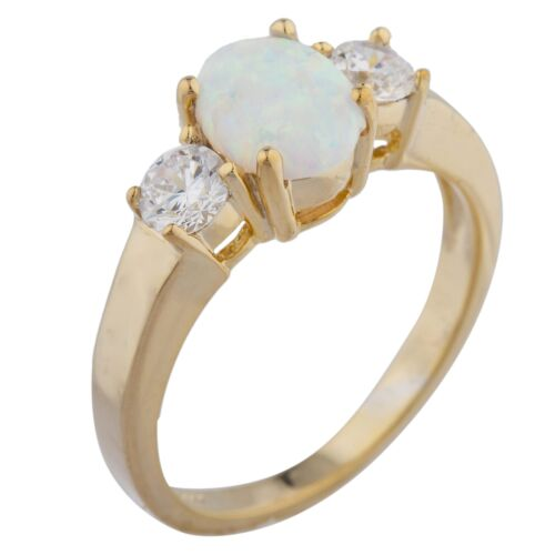 Opal /& Zirconia Oval Ring 14Kt Yellow Gold Rose Gold Silver