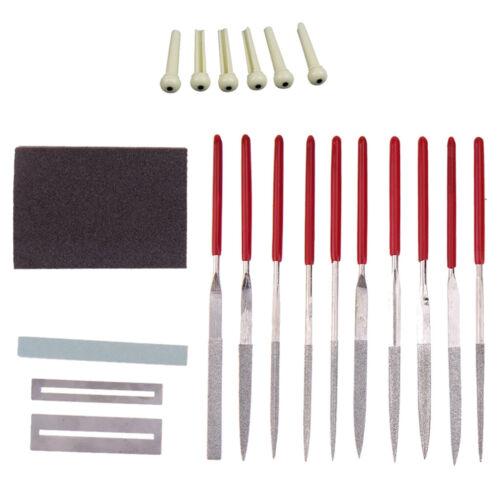 Gitarren-Reparatur-Handwerkzeug-Set Schleifstein Schleifschwamm Fret Nut