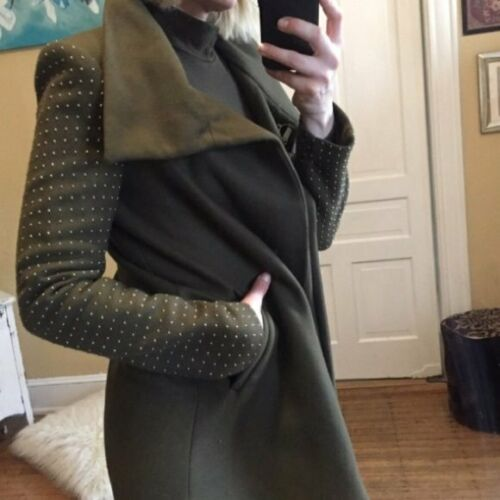 Zara | Olive Green Studded Coat Trench | S