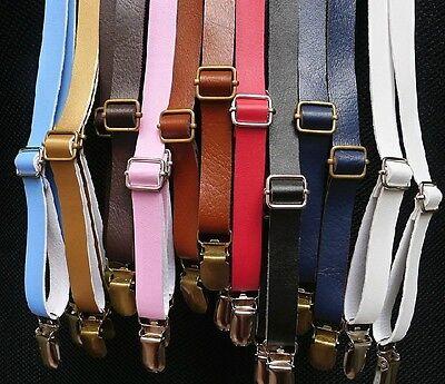 BDXJ1501 Men's Fashion Unisex Solid Adjustable Slim Clip-on Suspenders Braces