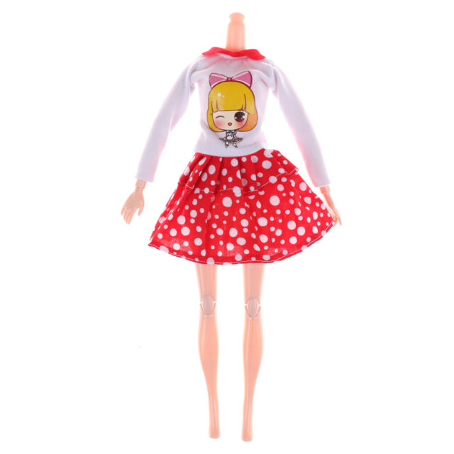 Fashion Handmade Barbie Doll White Dots Skirt Doll Princess Party DressClothes T